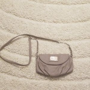 Taupe Textured Faux Leather Purse